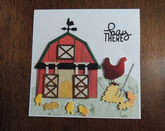 Handmade Hand Stamped Farm Barn With Chickens Card, Hay There Card, Farm Card