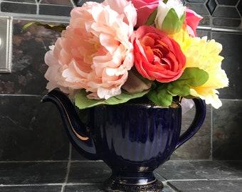 Floral Arrangement with Multi-Colored Silk Flowers in a Vintage Cobalt Blue Hall Teapot