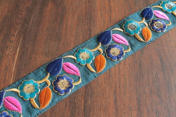 Black Embroidered Trim with Floral Motifs, Indian Fabric Trim, Ethnic Embroidered  Trim, Indian Ribbon - 1 yard | Indian fabric, Floral motif and Floral