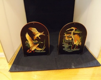 Beautiful Duck Good Crane Hand Painted Bookends