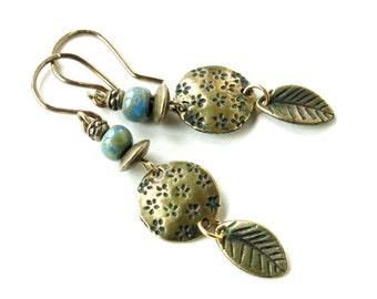 Boho dangle earrings - Blue Czech glass beads & antiqued brass leaves
