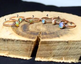 Ethiopian Opal ring, Opal Copper Ring, Wedding Ring Boho, Rustic Ring Opal Jewelry, rainbow fire Opal Ring, ring size 6US genuine opal