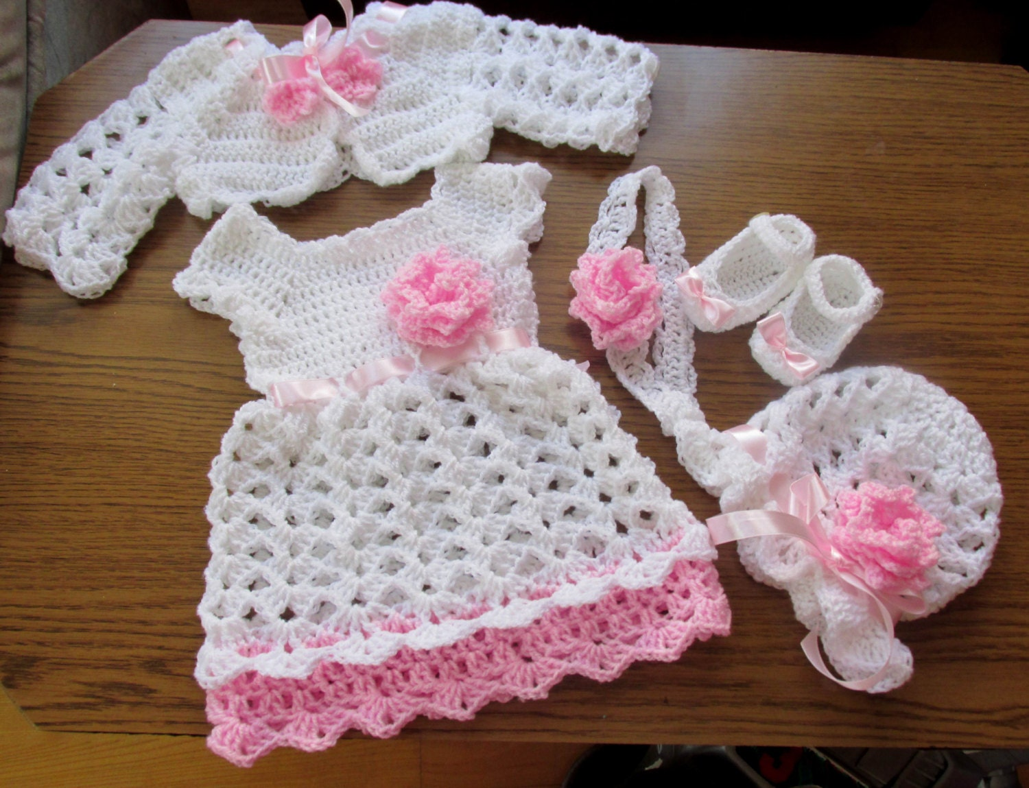 Baby girl crochet outfit baby dress bolero hat shoes and