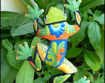 Outdoor Metal Art, Garden Art, Frog Art, Plant Stake, Yard Art, Garden Marker, Metal Art, Outdoor Garden Decor, Frog Metal Art -  PS-702-GR