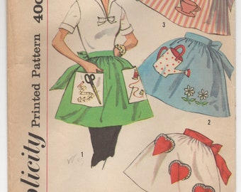 1960's Simplicity Half Apron with Heart Pockets & Sewing, Gardening, Coffee transfers - OS - No.2751