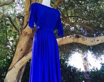 Retro Meets Regency Women's cobalt blue dress by Hal Ferman