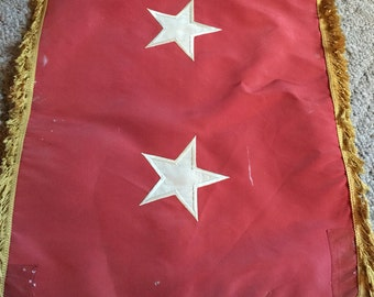 Vintage USA Army Flag / Major General 2 Star Flag - Red With Yellow Fringe Collectible