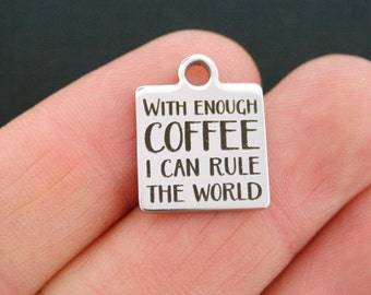 Coffee Stainless Steel Charm - Exclusive Line - Quantity Options - BFS484