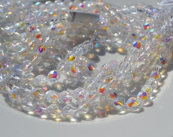 Crystal AB 8mm Faceted Fire Polish Czech Glass Beads  25