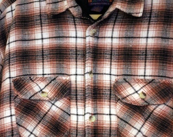 The High Land Flannel: 1970s Men's Vintage Brown Plaid Insulated Flannel Shirt By Highland Outfitters