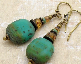 Earthy Turquoise Earrings in Glass with Rustic Brown Beads by Cloud Cap Jewelry