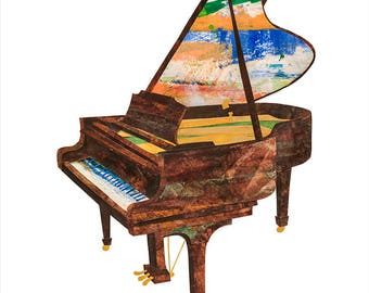 Piano, Painted Paper Collage Art Print