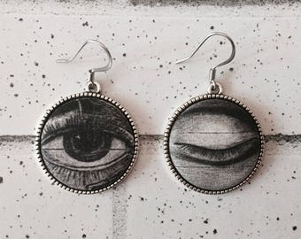 Fabric Button Antique Eye Earrings, Hypoallergenic, Silver, Drop Dangle, Eyecatching, Steampunk, Anatomical Illustration