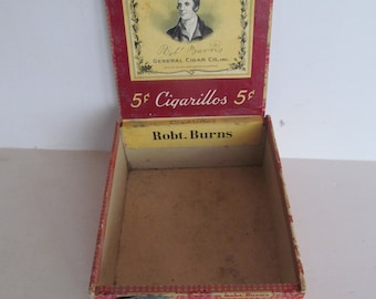 Robert Burns Cigarillos Cigar Box Cigar Box Wooden Cigar Box Cigar Label Cigar Box Tobacciana Antique Wood Cigar Box Rare Cigar Lounge Decor
