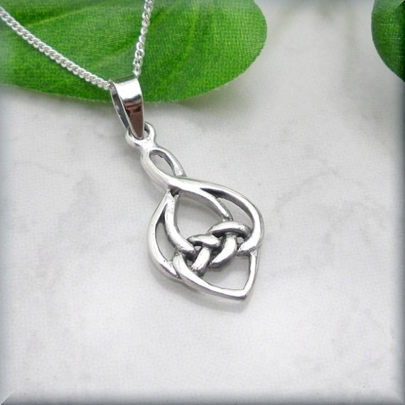 triangular chain sterling knot silver celtic with pendant