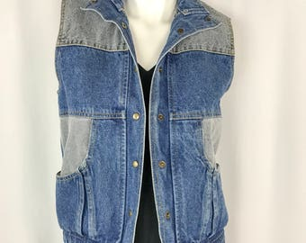 Vintage Jordache Jean Vest || 1980's Color Block Denim Vest || Small