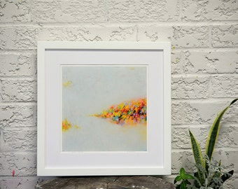 Fine art print, matted print, AUTUMN LANDSCAPE, abstract painting print, 16 x 16