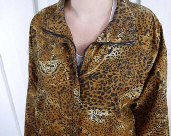 Vintage Cheetah Animal Print Windbreaker