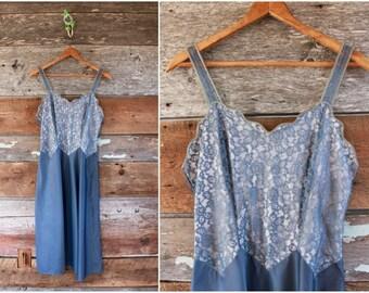 "1950s slip by Barbizon   gray blue lace dress slip   size small bust 32-34"" waist 26"""