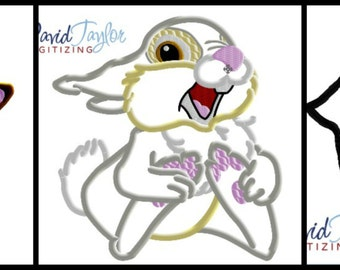 Bambi Thumper Flower (3 Design Pack) - 4x4, 5x7, 6x10, 8x8 in 9 formats - Applique - Instant Download - David Taylor Digitizing