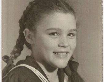 vintage photo 1947 Little Girl Braids Sailor Dress from Greta