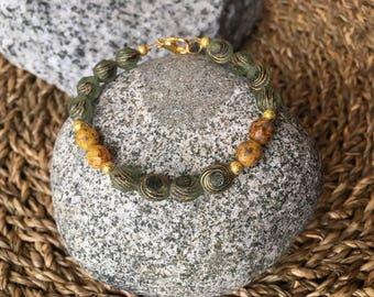 Green and Yellow Czech Glass Bead Bracelet