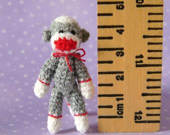PDF PATTERN - Crochet Miniature Punch Sock Monkey - Amigurumi Tutorial