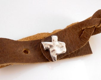 Fine Silver Texas State Stud Bead with Cowhide Leather Wrap Bracelet
