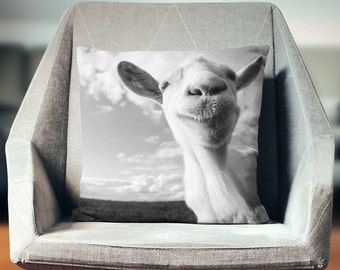 Goat Pillow   Farmhouse Pillows   Goat Decor   Farm Animal Pillow   Farm Animal Decor   Goat Art   Goat Cushion    Farm Pillow