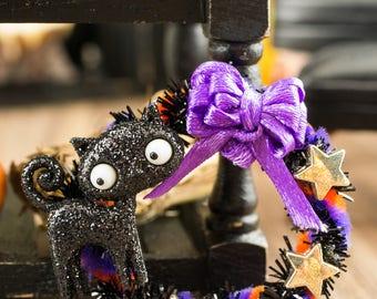 Miniature Black Cat Halloween Wreath - 1:12 Dollhouse Miniature