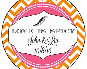 Love is Spicy Wedding Favors. Personalized Hot Sauce Labels. Chevron Weding Favor Stickers.
