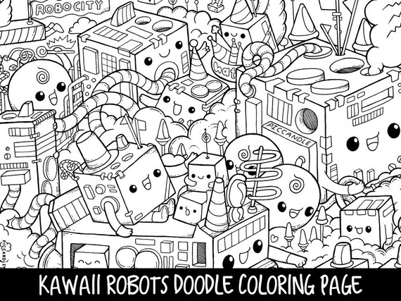 Robots Doodle Coloring Page Printable CuteKawaii Coloring