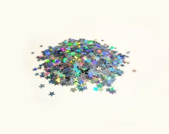 Holographic Laser Silver Stars Shape Glitter, 3mm, Solvent Resistant Glitter