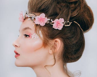Wreath with sakura (cherry blossoms) Wedding accessories Floral crown Elven wreath Winter finds Women fashion Christmas gifts