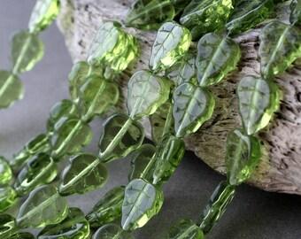 Leaf Beads, Glass Leaf Beads 25Pc, 10х12mm Czech Glass Beads, Olivine #2 Glass Leaves