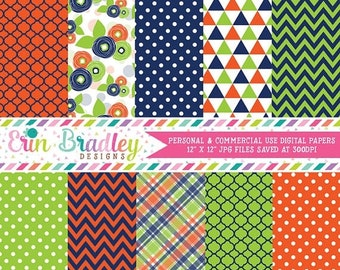 80% OFF SALE Floral Digital Paper Pack with Blue Orange & Green Flowers Triangles Plaid Chevron Patterns, Digital Scrapbooking Paper Pack