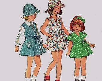 ON SALE Vintage 70s Girls RETRO Front Wrap Dress or Jumper and Hat Sewing Pattern Simplicity 6300 Size 5 Breast 24
