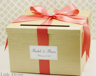 Wedding Card Box Champagne Gold and Coral Card Holder Custom Made