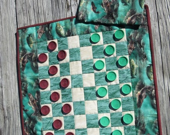 Fish Themed Quilted Checkerboard Game with Hand painted Checkers in Drawstring Pouch