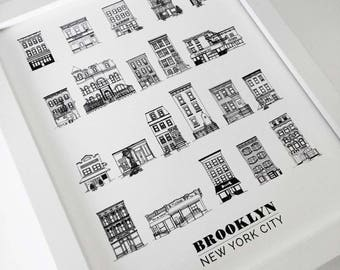 Framed Brooklyn Brownstones & House Illustrations 8x10in Print