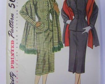 UNUSED Vintage 1950s Simplicity 8429 2-Pc SUIT & STOLE Pattern  sz 20 bust 38