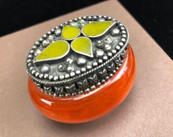 Vintage Tibetan Green Stone Inlaid Trinket Box Set in Silver with Swirled Orange Glass