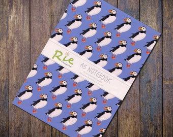 Puffin Notebook A5 Recycled Plain Paper Seabird Journal Jotter Notebook Note Book