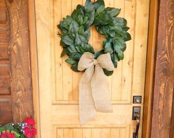 MAGNOLIA Wreath-Farmhouse Wreath-Magnolia Door Wreath-Outdoor Wreath-All Season Door Wreaths-Housewarming Wreath-Wedding Gift-Gift for Mom