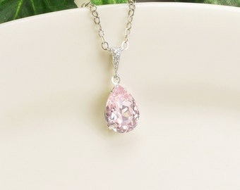 Light Pink Necklace - Silver Pink Swarovski Crystal Necklace - Crystal Pendant Necklace - Pink Bridesmaid Necklace - Wedding Jewelry