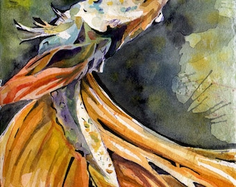 Painting of Yellow Betta Fish - Original Watercolor on Paper Art by Jen Tracy - Beta Fish Painting - Small Colorful Art by New Jersey Artist