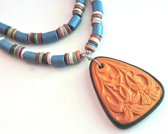 South American Clay Necklace - Flower Pendant, Floral Jewelry, Blue Necklace, Clay Jewelry