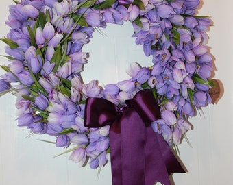 Purple Tulip Wreath, Spring, Summer, Easter