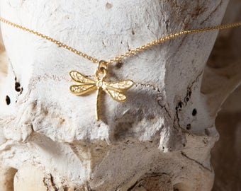 Dragonfly Necklace/Gold Dragonfly Necklace/Tiny Dragonfly necklace