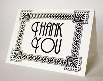 Art Deco Thank You Card Wedding Event Flapper Twenties Folded A6 Blank